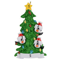 Personalized Ornament Family of 3 4 5 6 7 Green Christmas Tree With Gift Box