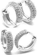 Pair White Gold Iced Hoop Huggie Hoops  Ear Stud Earrings Teens Mens Womens