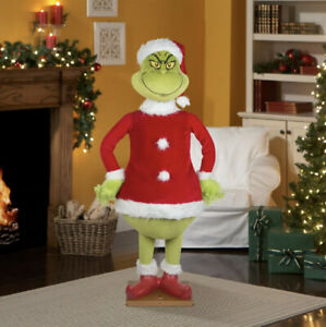 CHRISTMAS SANTA 5.74 FT TALL LIFE SIZE ANIMATED GRINCH SPEAKS-NEW FREE SHIPPING!