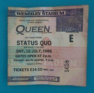 Queen ~ Status Quo - Ticket Stub No. 5658 Wembley Stadium Sat.12 July 1986