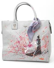 PICARD Grey Leather Silhouette Painted Shopper Purse Tote Handbag Bag NEW