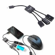 Micro-USB Host OTG 3 Port Hub Cell Phone Adapter Cable W/ Power Universal Cable