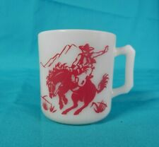 Vintage Hazel Atlas 1950s Cowboy & Indian Coffee Cup/Mug Glass Red Cowboy MCM