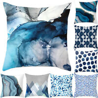 Blue Simple Pattern Pillow Cases Sofa Car Waist Throw Cushion Cover Home Decor