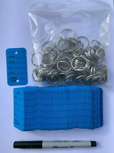 100 Car Key Tags - Blue - Strong ring/Sharpie Ultra Fine Pen