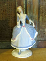 Royal DUX czechoslovakia Porcelain Figurine Waiting for a Dance Lady Blue Dress