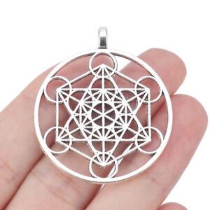 5pcs Antique Silver Tone Large Archangel Metatron's Cube Symbol Charms Pendants