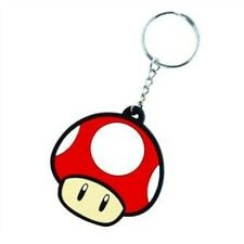 Official Super Mario Bros Mushroom Flexible Rubber Keyring Keychain - Magic New