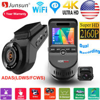 Junsun WiFi Built in GPS Tracker 4K 2160P Night Vision Car DVR Dual Lens Dashcam