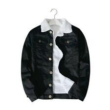 Mens Fleece Sherpa Lined Denim Jacket Jeans Blazer Slim Coat Winter Thermal Tops