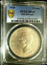 1945 NEW ZEALAND CROWN SILVER PCGS MS65 GEM UNC [KM#22] GEORGE VI