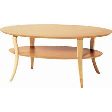 Wooden Coffee Table Living Center Oval Shape Open Bottom Shelf NET-406NA Azumaya