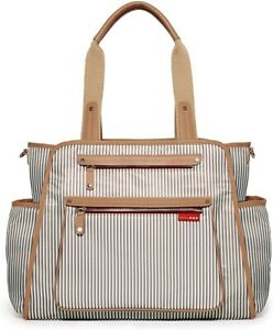 Skip Hop Take It All Diaper Bag Tote Gray Stripe Brown Trim