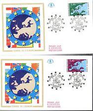 S106/7+ FDC  2  ENVELOPPES 1er JOUR  CEF CONSEIL DE L'EUROPE
