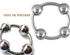 Glan Ring with Three Movable Balls & One fix / penis plug ring Erotic Love ring