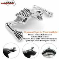 Chrome Skull Skeleton Headlight Visor Ornament & Headlamp Ring Emblem For Harley