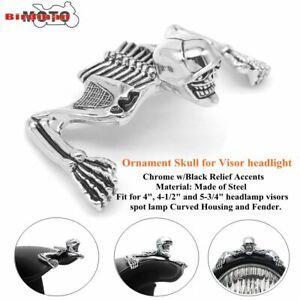 Chrome Skull Skeleton Headlight Visor Ornament & Headlamp Ring Emblem For Harley