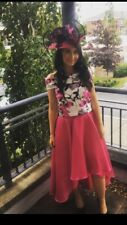 Two piece Pink Floral Fitted Top and Skirt Size 8-10 UK Races / Wedding / Formal
