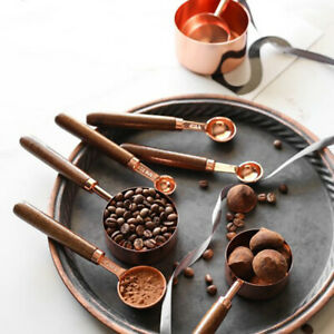 4pcs Kitchen Baking Walnut Wooden Handle Copper Plated Measuring Cups Spoons