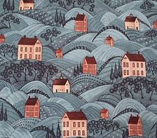 Country Road Warren Kimble BTY Quilting Treasures Folk Art Houses on Dusty Blue