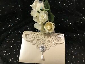 WEDDING INVITATION IVORY PEARL AND GLITTER VINTAGE FOLD POCKET 4CARD LASER CUT
