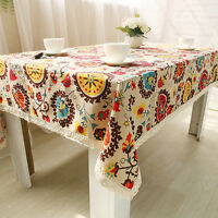 Vintage Cotton Linen Lace Sunflower Tablecloth Rectangle Home Table Cover Cloth