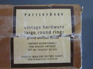 Set of 10 Pottery Barn Large Double Round Rings, Vintage Silver/Pewter, Curtain