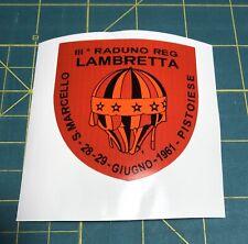 "LAMBRETTA Vespa Scooter  "" Raduno Reg "" 1961 Event Sticker GP,TV,LI,SX,GT. 200"