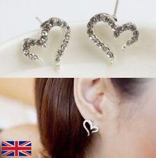 Women's Rhinestone Heart Shaped Silver Stud Earrings - UK Free P&P