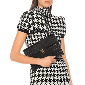 NEW $695 ALEXANDER MCQUEEN Embossed Croc Leather SKULL CLASP Envelope CLUTCH BAG