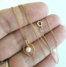 Vtg Genuine Pearl Gold Plated Heart Pendant with Gold Filled Chain Necklace