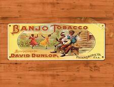 "TIN SIGN ""Banjo Tobacco"" Smoke Cigars Kitchen Mancave Wall Decor"