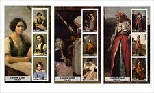 CAMILLE COROT  PAINTINGS ART 3 SOUVENIR SHEETS MNH UNPERFORATED