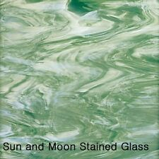 """8 X10"""" Spectrum Glass Sheet S828-72 -Seafoam Green and White Stained Glass Sheet"""