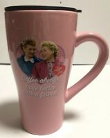 "I Love Lucy Tall Travel Mug w/Lid ""Coffee Always Taste Better With A Friend""Pink"