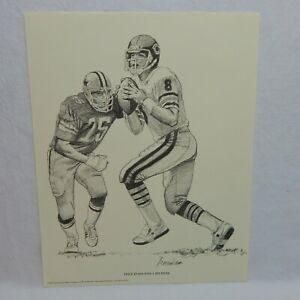 1981 SHELL OIL PRINT VINCE EVANS EYES A RECEIVER