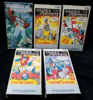 Lot of 5 Transformers VHS Tapes Cartoon Volume 1,3,4,6,7 Vintage 1985 1999