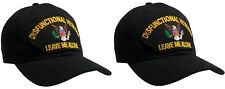 2 PACK! DYSFUNCTIONAL VETERAN Hat Black Ball Cap 100% Cotton Structured  2 PACK!