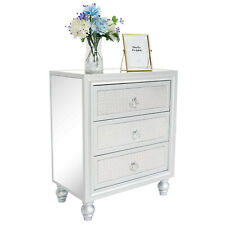 3 Drawers Mirrored End Beside Table Nightstands Accent Chest Cabinet Dressers