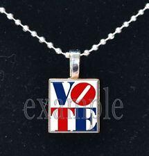 VOTE USA America Political Red White Blue Scrabble Tile Necklace Pendant Charm
