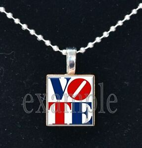 VOTE USA America Political Red White Blue Scrabble Tile Necklace Pendant Charm