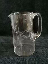 More details for antique edwardian handblown clear glass artisan vase water etched fern table jug
