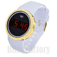 Techno Pave Iced Bezel Digital Touch Screen Sports White Silicone Band Watch