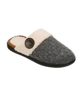 DEARFOAMS® XL(11-12) Dark Heather Textured Knit Clog Slippers NWT