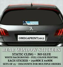 Rear Window Stickers, Personalised, Car Sales, Vinyl Decals, Full colour x 25
