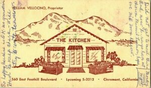 THE KITCHEN RESTAURANT WILLIAM VELLOCINO PROPRIETOR  CLAREMONT CAL . POSTCARD