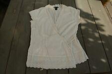 H&M blouse blanc cassé, croisée, avec dentelle 44, en coton