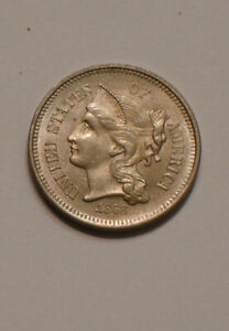 1868 Three Cent Nickel 3¢ GEM BU exceptional Original COIN