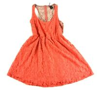 Fire Los Angeles Orange Floral Sleeveless Dress Blouse Size Small
