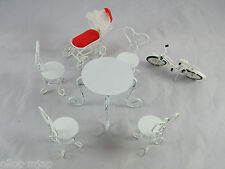VINTAGE ~ METAL DOLL HOUSE PATIO FURNITURE WITH BICYCLE AND BABY CARRIAGE